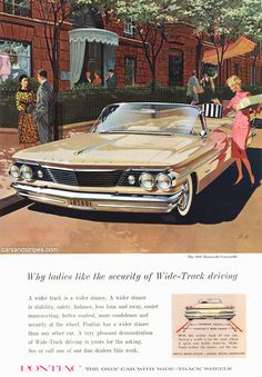 1960 Pontiac Bonneville Convertible - Why the ladies like the security of Wide-Track driving - Original Ad