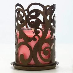 Rustic Swirl Candle Sleeve - Stylish swirls slip over a pillar or jar candle to add instant beauty. Jar Candle, Candles, Online Outlet, Grab Bags, Bronze Finish, Swirls, Wax, Rustic, Stylish