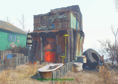 Novac inspired funky little shack Fallout Art, Fallout New Vegas, Apocalypse Games, Fallout 4 Settlement Ideas, Future Buildings, Chinese Martial Arts, Coffee Shop Design, Environment Design, Borderlands