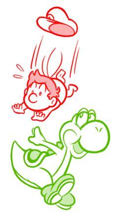 Yoshi and Baby Mario Sketch by =Captain-Regenold on deviantART