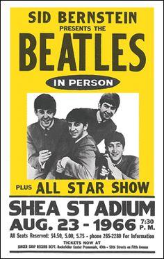 The Beatles play Shea Stadium in Queens, NY http://www.posterchild.com/ebay-store/beatlesshea.gif