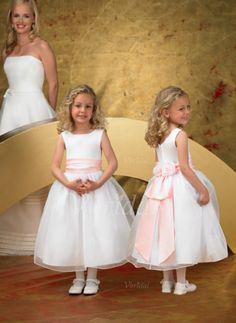 Bloemenmeisjes Jurken - $92.65 - A-Lijn/Prinses Ronde Hals Enkellengte Organza Satijn Bloemenmeisjes Jurk met Roes Ceintuurs (01005009029)