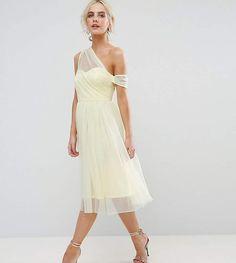 ASOS Petite ASOS PETITE Dobby Mesh One Shoulder Prom Dress