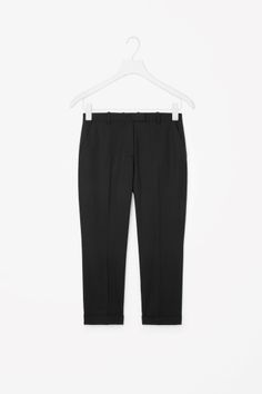 COS image 2 of Straight-leg wool trousers in Black