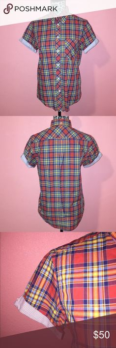 Ben Sherman Aurora Red Plaid Button Up Shirt S Ben Sherman Aurora Red Plaid in size Small. Plaid shirt is made of 100% Cotton. Features bold red plaid print, contrasting sleeves cuffs, shirt pocket, and button up front. Gently used and pre-owned, in mint condition (no holes, smells, or stains). No buttons missing. Measurements (taken laying flat): Chest 20  Waist 20  Sleeve Circumference : 7 If you have any questions feel free to ask! Please check out my other listings for more great deals…