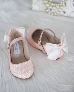 556dae4f714562 DUSTY PINK Rock Glitter Maryjane Heels With Satin Bow. Flower Girl ShoesPink  Flower Girl DressesFlower ...
