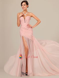 Pearl Pink Chiffon Prom Dresses Floor Length With Slits | Next Prom Dresses