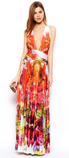 Forever Unique Plunge Neck Maxi Dress in Tropical Floral Print