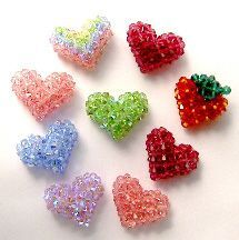 """3-D Crystal """"Puffy"""" Hearts and a Strawberry by Chris Prussing www.bead-patterns..."""