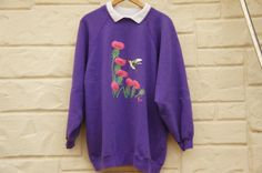 Vintage 90s Purple Sweatshirt with hummingbird by SycamoreVintage