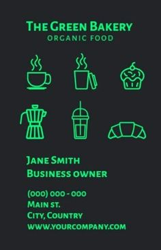 Neon Green Dark Modern bakery business card that show the big range they supply in from coffees to frappés to cakes Modern Bakery, Bakery Business Cards, Neon Green, Range, Cakes, Dark, Big, Food, Cookers