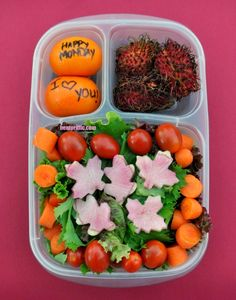 Leafy fall salad with clementines and rambutan in @EasyLunchboxes