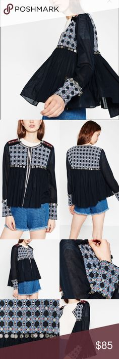 """Zara Embroidered Jacket Gorgeous lightweight topper that you'll wear all the time. Sleeve and bib embroidered details. Ornate shoulder details and finished with coins at the bib and sleeves. Can be worn open or close with two concealed hook and eye closures. Effortless and luxe. 18"""" underarm to underarm and 22"""" L Zara Tops"""