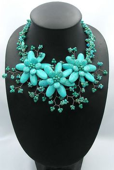 bridesmaid gifts,Bead Necklace,Beaded Jewelry,turquoise necklace,flower necklace With Turquoise--by audreyjewelry