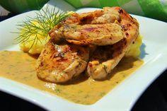 V kuchyni vždy otevřeno ...: Kuřecí s medovo - hořčicovou omáčkou s koprem Shrimp, Turkey, Meat, Breakfast, Food, Recipes, Morning Coffee, Turkey Country, Essen