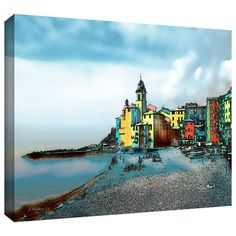 ArtWall 'Camogli Italy Beachside Signed' by Linda Parker Gallery Wrapped on Canvas