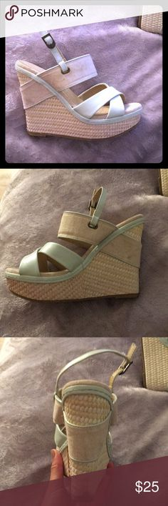 Wedges Super cute Chinese laundry wedges! Sea foam green and beige with different textures. Chinese Laundry Shoes Wedges
