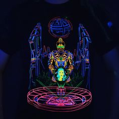 Glowing under blacklight Cyber, Rave, Glow, Darth Vader, Romance, T Shirt, Fictional Characters, Raves, Romance Film