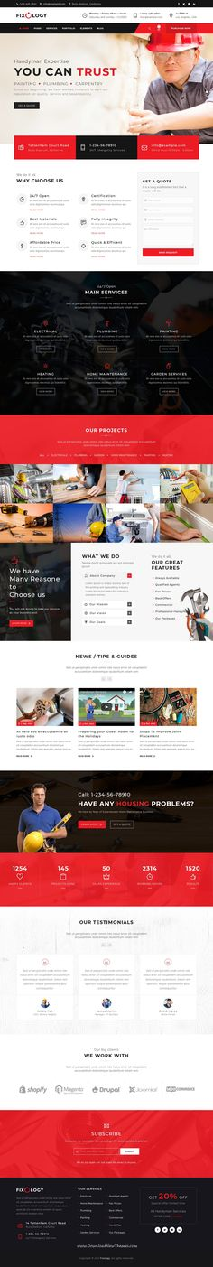Fixology is clean and modern design 3in1 responsive #WordPress theme for #handyman, #repair and #renovation services website to live preview & download click on Visit 👆