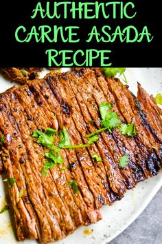 This Authentic Carne Asada is packed with flavor. Marinated and grilled to tender perfection you will have everyone coming back for seconds! Grilling Recipes, Meat Recipes, Mexican Food Recipes, Food Processor Recipes, Dinner Recipes, Cooking Recipes, Healthy Recipes, Mexican Desserts, Carne Asada