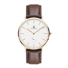 SUNBLON Men's Quartz Stainless Steel Dress Watch With Leather Band