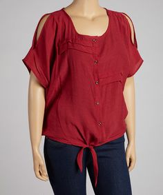 Loving this Red Pleated Tie-Up Button-Up Top - Plus on #zulily! #zulilyfinds