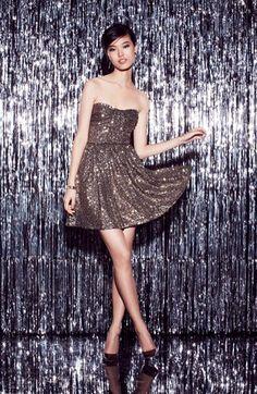 Jill Jill Stuart Sequin Dress & Accessories available at Strapless Party Dress, Sequin Dress, Pretty Dresses, Beautiful Dresses, Glitter Make Up, Bridesmaid Dresses, Prom Dresses, Nordstrom Dresses, Fit Flare Dress