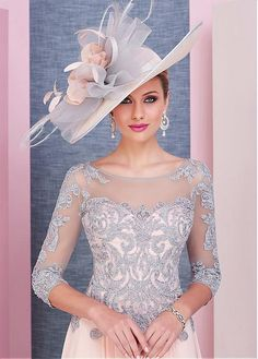 Magbridal Delicate Tulle & Chiffon Scoop Neckline Tea-length A-line Mother Of The Bride Dress With Beaded Lace Appliques Mother Of The Bride Hats, Mother Of Bride Outfits, Mother Of Groom Dresses, Tea Length Bridesmaid Dresses, Wedding Bridesmaid Dresses, Foto Fashion, Derby Outfits, Lace Dress With Sleeves, Wedding Hats