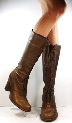 Vintage 60s FRYE Brown Leather Campus Boots Over the Knee OTK ...