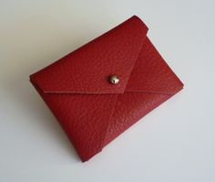 Handmade leather business card holder in Bright Red. $22.00, via Etsy.
