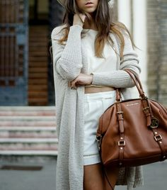 cropped top with long cardigan