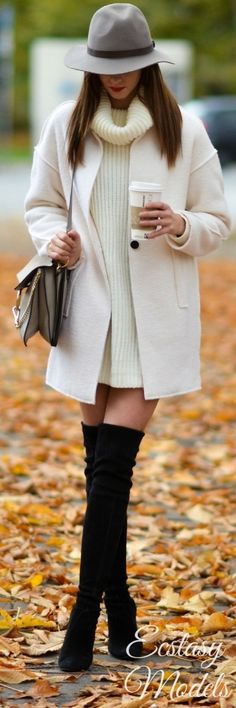 #winter #fashion / knit dress + coat