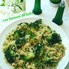 """Boulgour aux brocolis et petits pois   Recette sur Facebook  """"Les Saveurs de Safia"""""""