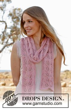 """Honey rose - Knitted DROPS scarf with lace pattern in """"Big Merino"""". - Free pattern by DROPS Design Lace Knitting Patterns, Shawl Patterns, Free Knitting, Drops Design, Lace Scarf, Wool Scarf, Crochet Design, Drops Patterns, Knitting Accessories"""
