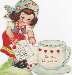 Gypsy Fortune Teller Reads Tea Leaves Vintage Die Cut Valentine Card