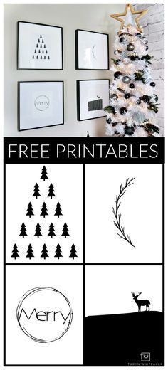 Download your own set of these FREE Black and White Modern Christmas Printables with a Scandinavian flare! Simply swap out your photos with these!