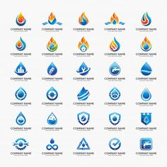 Collection of water, flame, plumbing logo design template for your company.