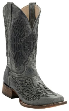 Corral® Mens Distressed Black w/Black Inlay Winged Cross Square Toe Western…
