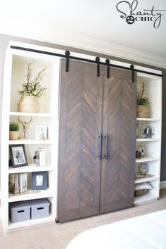 DIY Sliding Barn Door Console I like the idea of adding barn doors to a murphy bed for the guest room Barn Door Media Console, Media Cabinet, Barn Door Tv Cabinet, Cupboard Doors, Diy Sliding Barn Door, Sliding Doors, Diy Door, Front Doors, Garage Doors
