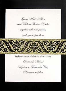 wedding invitations with metallic gold jacquard wrap $1.22