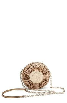 Love it! Coin raffia crossbody bag with gold tones | Dolce&Gabbana