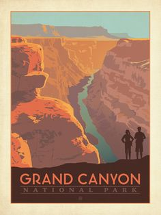 Grand Canyon National Park: Hikers - Anderson Design Group has created an award-winning series of classic travel posters that celebrates the history and charm of America's greatest cities and national parks. Founder Joel Anderson directs a team of talented Nashville-based artists to keep the collection growing. This print celebrates the soaring grandeur of Grand Canyon National Park.<br />