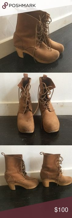 No. 6 clog boots in a size 38 (good for 7 or 7.5). Awesome lace up brown suede clog boots from brand No. 6 (made by the same company as Sven clogs). Worn condition but still have a lot of life left in them. Size 38, good for a size 7 or 7.5 (I'm usually a 7.5 and wear either a 38 or 39 in No. 6 depending on the model). Only selling because my clog collection is getting out of control! Retails new for over $350 no. 6 Shoes Heeled Boots