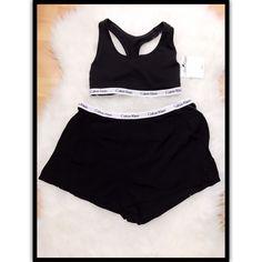 NWT $112 CALVIN KLEIN WOMEN'S SLEEPWEAR PAJAMA SET TOP & SHORTS BLACK SZ SMALL #CALVINKLEIN #SleepShortsandTank #Everyday