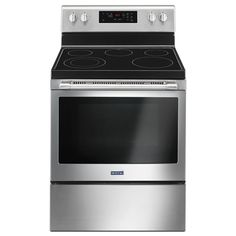 Maytag Smooth Surface Freestanding 5-Element 5.3-cu ft Self-Cleaning Electric Range (Fingerprint-Resistant Stainless Steel) (Common: 30-in; Actual: 29.875-in)
