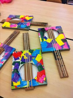 Art projects for kids. Music Activities, Activities For Kids, Music For Kids, Art For Kids, Projects For Kids, Crafts For Kids, Art Projects, Instrument Craft, Homemade Musical Instruments
