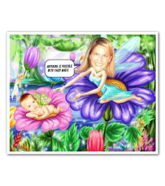 Flower Fairies Caricature from Your Photos - A fun new baby gift and a great reminder that spring is finally here!!! Woo hoo!!!