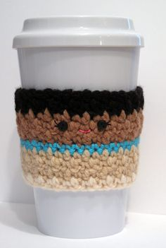 Crochet Pocahontas Coffee Cup Cozy by TheEnchantedLadybug on Etsy Disney Crochet Patterns, Crochet Disney, Crochet Designs, Crochet Coffee Cozy, Crochet Cozy, Crochet Gifts, Cute Coffee Cups, Coffee Cup Cozy, Yarn Projects
