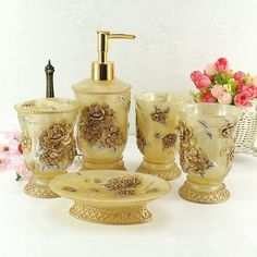 [Visit to Buy] Cup brush bathroom set luxurious fashion resin bathroom set of five pieces toothbrush cup holder Bathroom Shower Curtain Sets, Bathroom Sets, White Bathroom, Bathrooms, Cheap Bathroom Accessories, Decorative Accessories, Shabby Chic, Bathroom Design Inspiration, Plastic Trays
