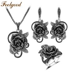Feelgood Silver Color Vintage Jewellery Set Fashion Black Crystal Flower Jewelry Sets For Women Wedding Party Birthday Gift